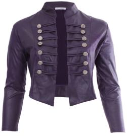 Kort Leather Look Jasje met 2 rijen knopen (K-5002-LL) 059-Dr.Paars