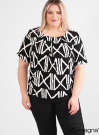 Short Sleeve Puffy Shirt (B-8018-VISprint) Z72001-BW X-Square