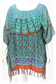Saron Blouse (10-3254) peacock lgreenred