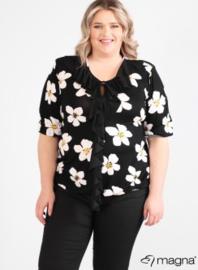Shirt met rouche (B-2102-print) Z59001-White Flower