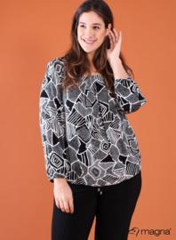 Shirt met Elastiek (B-8022-VISPR) 019901-Black-White mixed shapes