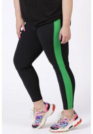 Broek met streep op zijkant been (D-9003-CRB) 001-zwart/058-Brazil Groen
