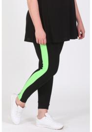 Legging Streep (F-9002) 001-zwart/073-Neon Groen