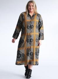 Maxi Buttoned Dress side split (C2010-print) 001865-Decorative Tile Pattern Gold