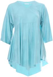 Leather Look Shirt met punt voor (B-119-LL) 051-Aqua Blauw