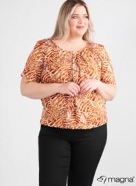 Short Sleeve Puffy Shirt (B-8018-VISprint) Z73028-Soft Leaves Rust