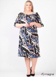 Cold Shoulder Leather Straps Dress (C-2101-VP) A03060-Animal Blue