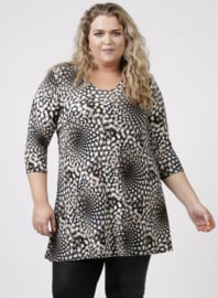 Lange basic shirt (B-6004-PR) 901061-Zwart-Wit print
