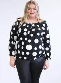 Shirt met Elastiek (B-8022-PR) 490001-Balls black-white