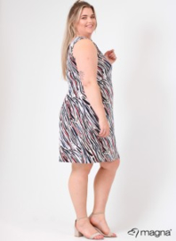 Crossed Detail Dress (C-9030-print) Z47015-Colorful Zebra Blue-Red