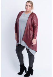Leather Look Bolero lange mouw (A-74) 032-Bordeaux