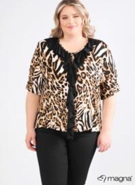 Shirt met rouche (B-2102-print) B01064-Bruin Tiger