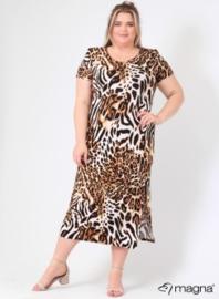 Long Short Sleeve Dress (C-9024-VIS print) B01064-Tiger Brown