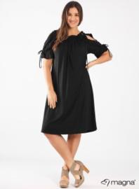 Cold Shoulder Leather Straps Dress (C-2101) 001-Zwart