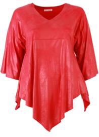 Leather Look Shirt met punt voor (B-119-LL) 015-Rood