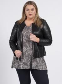 Kort Leather Look jasje printed (K-31-LLprint) 966001-Zwart