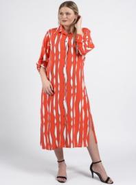 Maxi Buttoned Dress side split (C2010-print) A41066- Coral krinkle stripe