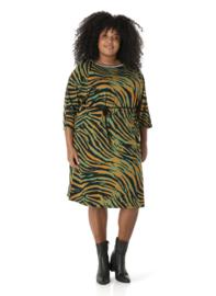 """(40198P) """"Queen"""" Groene zebra print jurk lange mouw"""