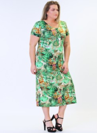 Long Short Sleeve Dress (C-9024-VIS print) A67058-Green-Yellow Flower
