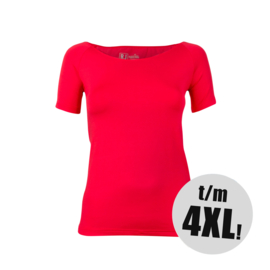 RJ-Pure Color Dames T-Shirt  -  Rood