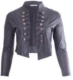 Kort Leather Look Jasje met 2 rijen knopen (K-5002-LL) 020-Dr.Grijs