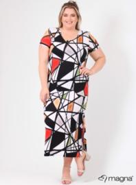 Long Short Sleeve Dress (C-9024-VIS print) Z52015-Geo Design R-Y-G