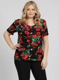 Shirt korte mouw (B-04-VISprint) A63015-Red Flowers