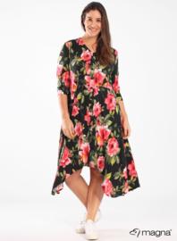 A-lijn jurk met knopen (C-2102-PR) Z95015-Red Floral Print