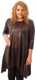 Leather Look Tuniek Punten 3Q-mouw(C-01-LL) - 064-Dr.Bruin