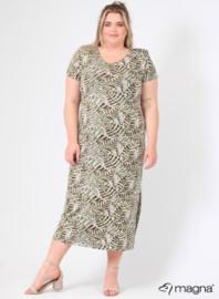 Long Short Sleeve Dress (C-9024-VIS print) Z73031-Soft Leaves Green