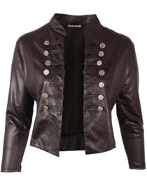 Kort Leather Look Jasje met 2 rijen knopen (K-5002-LL) 001-Zwart
