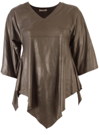 Leather Look Shirt met punt voor (B-119-LL) 031-Dr.Groen