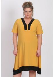 Tuniek/jurk 2t lang (C-9007) 076-001-Mellow Yellow-Zwart