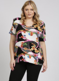 Shirt korte mouw (B-04-VISprint) A62006-Floral Swirl Fuchsia
