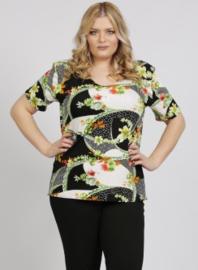 Shirt korte mouw (B-04-VISprint) A62058-Floral Swirl Green