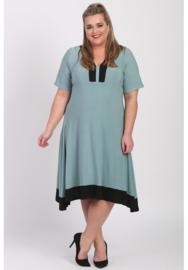 Tuniek/jurk 2t lang (C-9007) 077-001-L.Petrol-Zwart