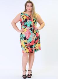 Crossed Detail Dress (C-9030-print) 824066-Coral Flower Print