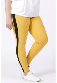 Broek met streep op zijkant been (D-9003-CRB) 076-Mellow Yellow/001-Zwart