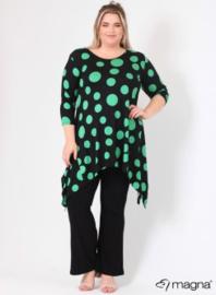 Tuniek Punten 3Q-mouw(C-0001-vis-print) - 490058-black-green dots
