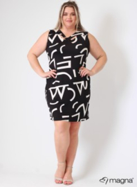 Crossed Detail Dress (C-9030-print) A80001-BW Signs