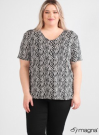 Shirt korte mouw (B-04-VISprint) A06001-bw stripes