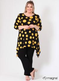Tuniek Punten 3Q-mouw(C-0001-vis-print) - 490076-Black-Yellow dots
