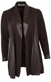 Blazer met Leather Look (N-51) 001-Zwart