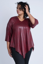 Leather Look Shirt met punt voor (B-119-LL) 032-Bordeaux