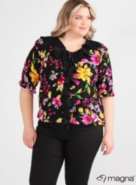 Shirt met rouche (B-2102-print) 386001-Colorful Flowers