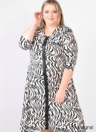 A-Line Printed Dress Button Leather Detail (C-2105-PR) A99001/Zebra Black