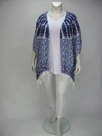 Poncho Flor (07-3263-whitebluepeacock)