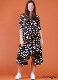A-lijn jurk met knopen (C-2102-PR) 00001H-Pebbles Art Yellow-Orange