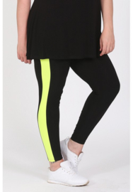 Legging Streep (F-9002) 001-zwart/074-Neon Geel