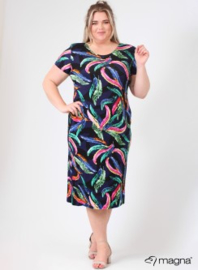 Long Short Sleeve Dress (C-9024-VIS print) Z58001-Rainbow Feathers